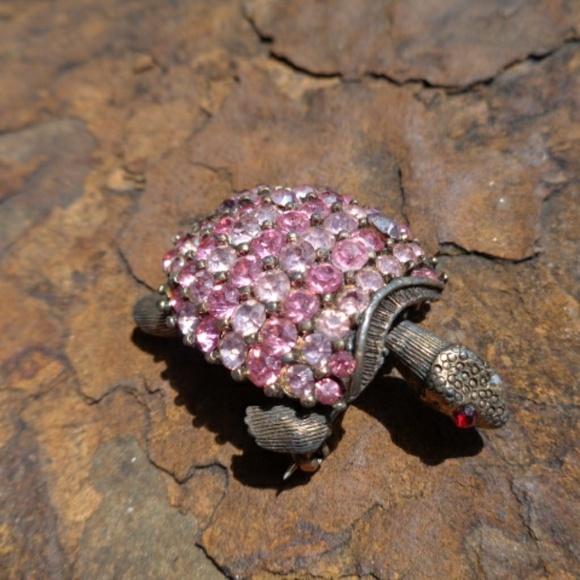 Vintage Old Pink Rhinestone Turtle Brooch